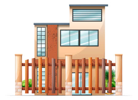 gated: Illustration of a gated building on a white background