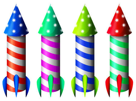 Illustration of the colorful rockets on a white background Vector