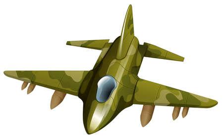 jetplane: Illustrazione di un jetplane combattente su uno sfondo bianco Vettoriali