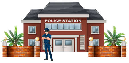 Illustration of a policeman standing in front of the police station on a white background Illustration