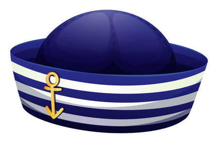 hard rain: Illustration of a blue hat with an anchor on a white background Illustration