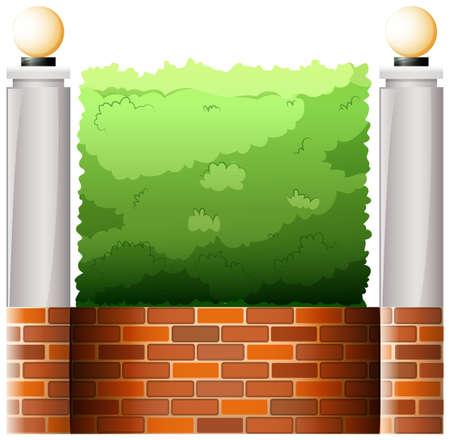 abatjour: Illustrazione di un muro di pietra con paralumi su uno sfondo bianco Vettoriali