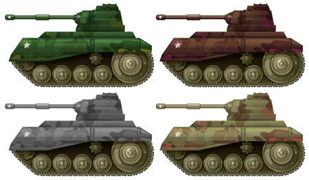 Illustration of the four combat tanks on a white background Vector