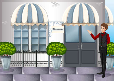 service entrance: Illustration of a waiter near the restaurants entrance