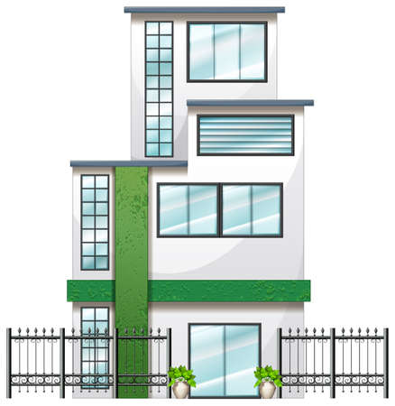 Illustration of a newly built tall building on a white background Vector