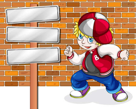 Illustration of a young boy beside the empty wooden boards Vector