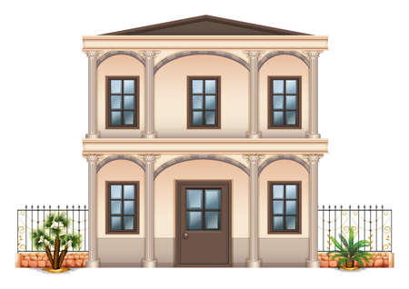 detached: Illustration of a two-story single detached building on a white background