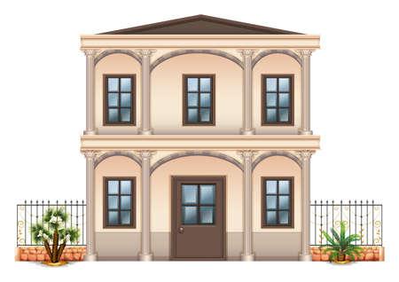 detached: Ilustraci�n de un solo edificio unifamiliar de dos pisos sobre un fondo blanco