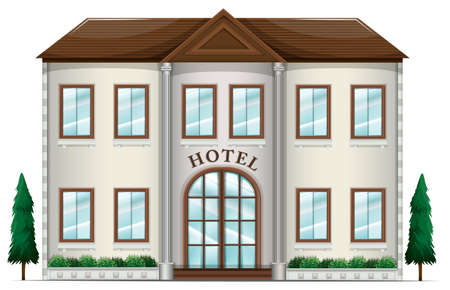 establishments: Illustration of a hotel on a white background Illustration