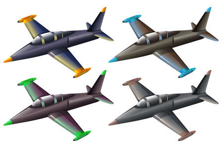 Illustration of a group of fighter jets on a white background Vector