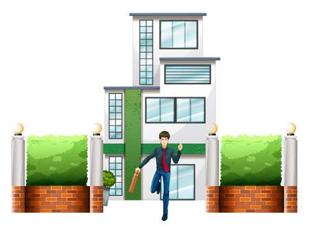 civil engineers: Illustration of a businessman running outside the tall building on a white background