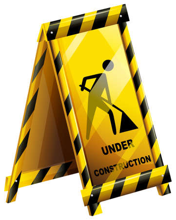 undone: Illustration of an under construction sign on a white background