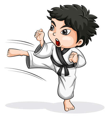 Illustration of an Asian taekwondo player on a white background