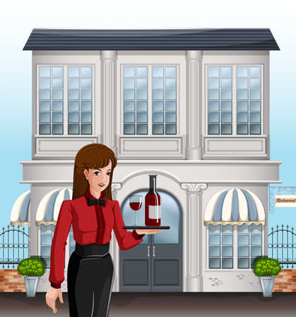 Illustration of a female server in front of a building Vector