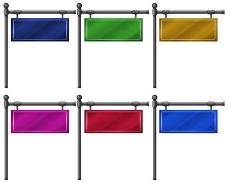 Illustration of the six colorful signboards on a white background Vector