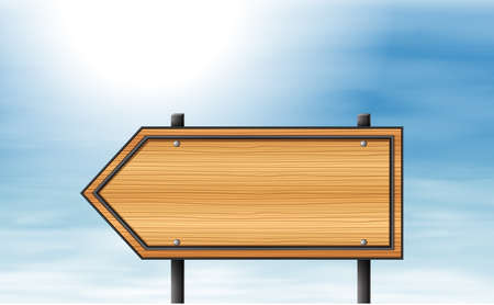 pointed arrows: Illustration of a wooden arrow signboard