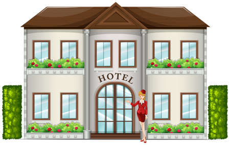 attendant: Illustration of a hotel attendant standing in front of the hotel on a white background