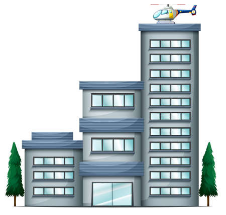 civil engineers: Illustration of a helicopter above the tall building on a white background
