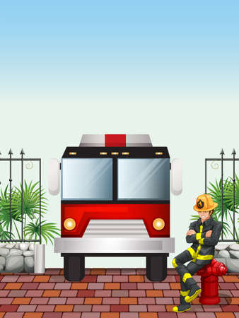 Illustration of a fireman sitting above a hydrant Vector