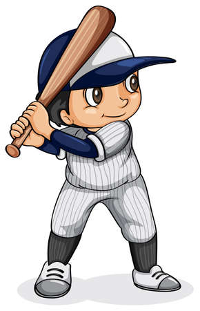 Illustration of an Asian baseball player on a white background Vector