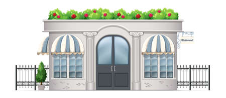 Illustration of a commercial building with plants at the rooftop on a white background