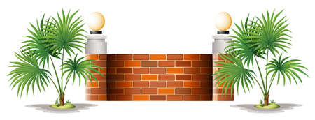 panelling: Illustration of a barricade made of bricks on a white background