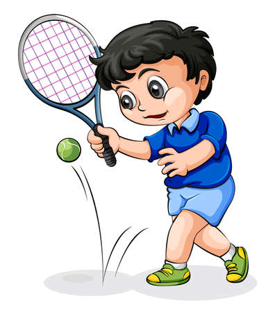 Illustration of an Asian tennis player on a white background Vector