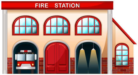 building fire: Illustration of a fire station building on a white background