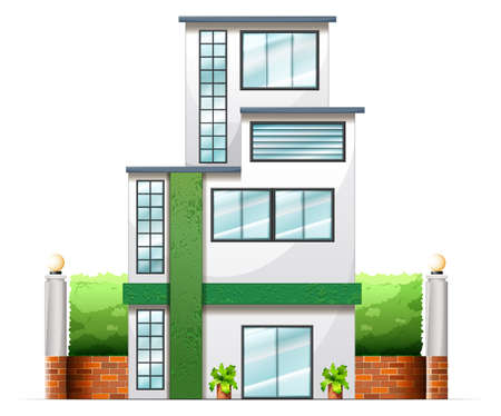 office building: Illustration of a tall building on a white background Illustration