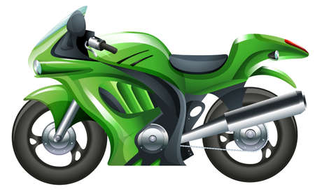 motorised: Illustration of a green motorcycle on a white background