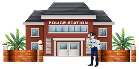 patrolman: Illustration of a policeman outside the police station on a white background Illustration