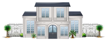 Illustration of a big house with palm plants on a white background