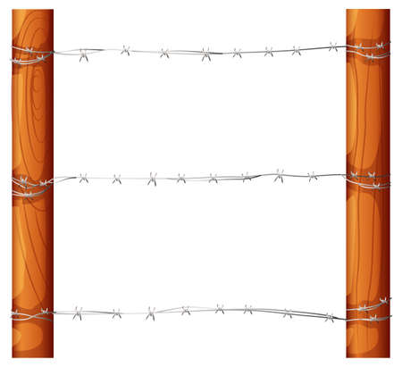 Illustration of a barbwire fence on a white background Illustration