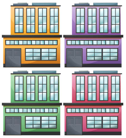 Illustration of the different house designs on a white background Vector