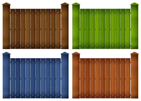 panelling: Illustration of the four colorful wooden fences on a white background