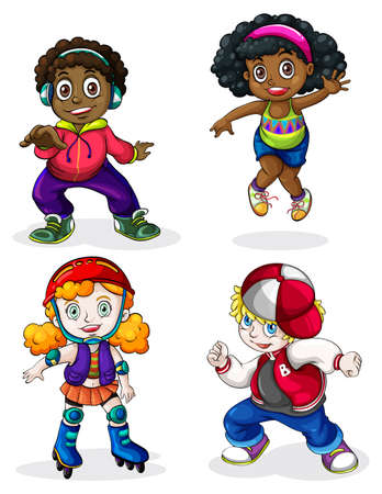 rollerskate: Illustration of the Black and Caucasian kids on a white background Illustration