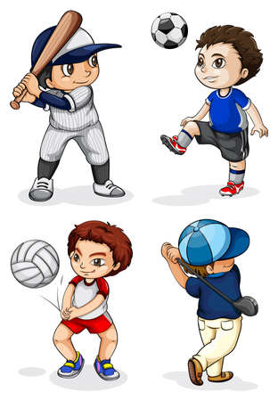 Illustration of the male kids engaging in different activities on a white background Vector