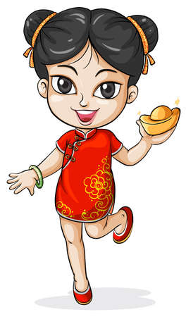 chinese dress: Illustration of a young Chinese on a white background