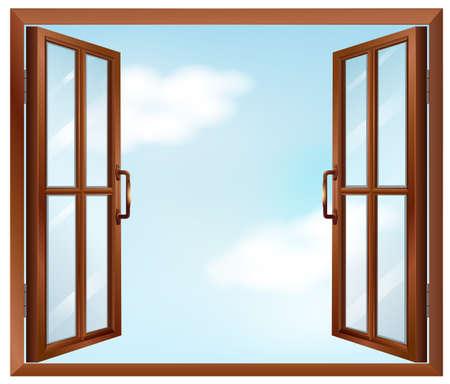 open windows: Ilustración de una ventana de la casa Vectores