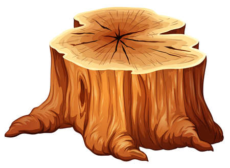 Illustration of a big tree stump on a white background