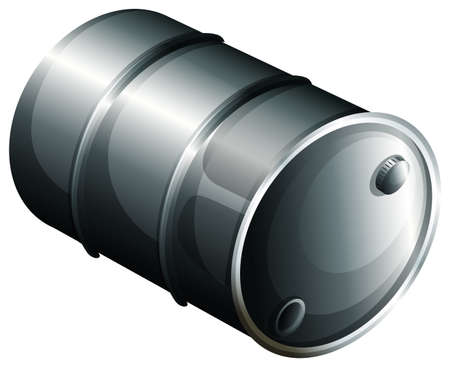 tun: Illustration of a gray oil barrel on a white background