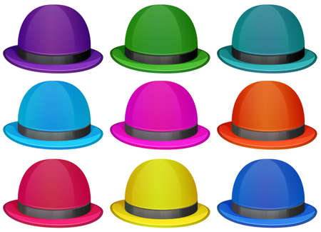 Illustration of a group of colorful hats on a white background Vector