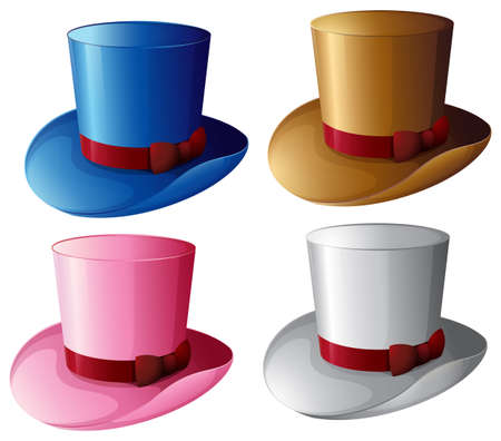 Illustration of the four hats with red ribbons on a white background Vector