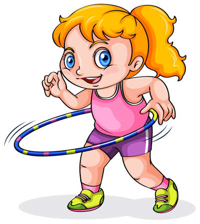 hulahoop: Illustration of a young Caucasian girl playing with a hulahoop on a white background Illustration