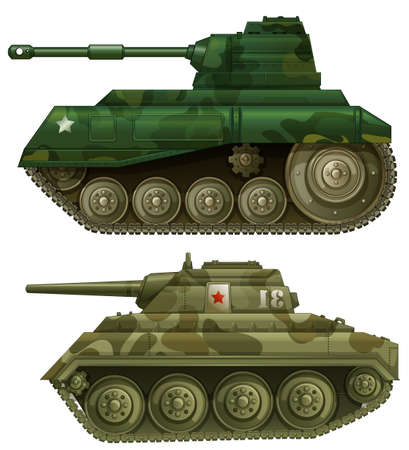 Illustration of the two armoured tanks on a white background Vector
