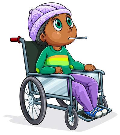 Иллюстрация Черный человек верхом на инвалидной коляске на белом фоне