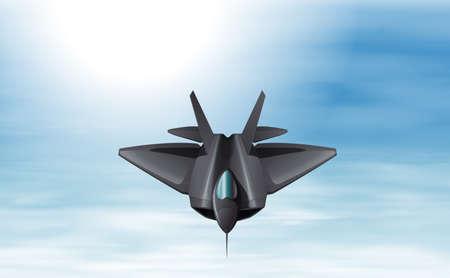 jetplane: Illustration of a gray fighter jet in the sky