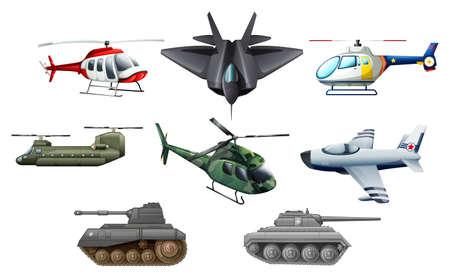 avion de chasse: Illustration des différents transports de guerre sur un fond blanc