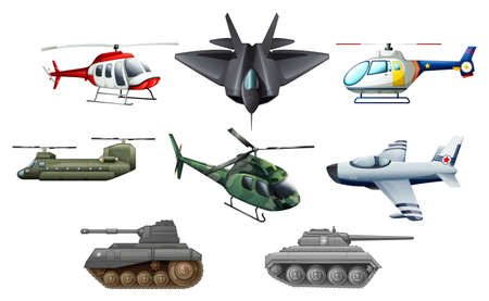 Ilustración de los diferentes medios de transporte de guerra sobre un fondo blanco