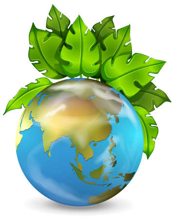 heartshaped: Illustration of the planet earth with green plants on a white background Illustration